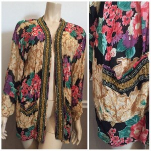 Awesome Indian floral long sleeve tunic with beading  size XL  shirt or bathing suit cover