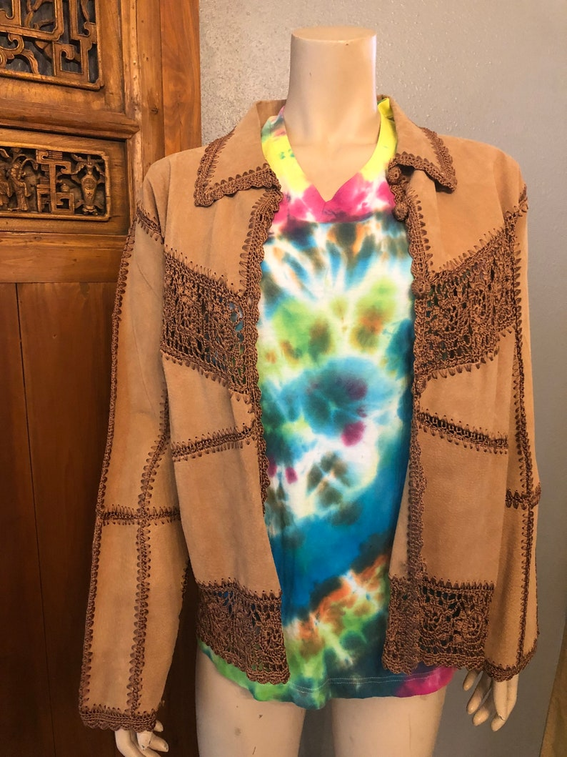 Hippie Vintage style Tan  Brown Suede Jacket with Tags by Carducci  Large