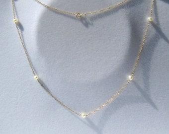 Perle collier • or satellite chaine • 14k or   rempli argent délicat blanc  perle ras du cou • Layered superposition bijoux naissance juin 800f7ee9fce