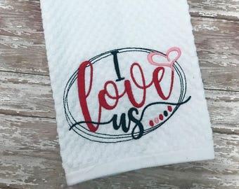 Valentine embroidery hand towel: Dish Towel