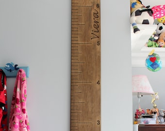 custom wood growth chart, personalized wood growth ruler, kids growth engraved numbers & engraved lines