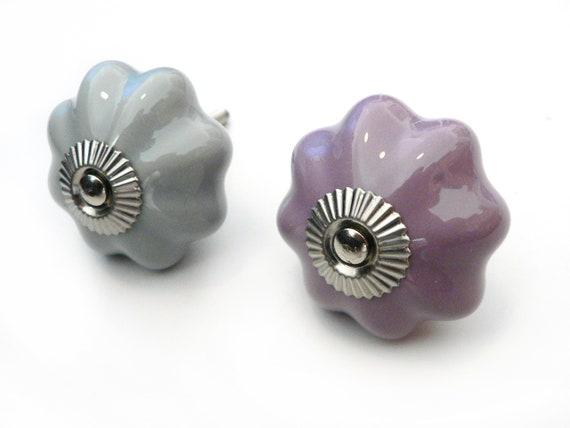 Clayre /& Eef Möbelknopf Griff Keramik Metall lila weiss Knauf Knopf