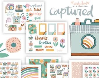 Captured Printable Scrapbooking Kit | Planner Stickers | Art Journaling | Paper Crafting | Scrapbooking