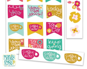 Printable Planner Stickers || Floral Stickers, Coffee Stickers, Washi Tape, Flag Stickers, Inspirational Stickers, Planner Accessories
