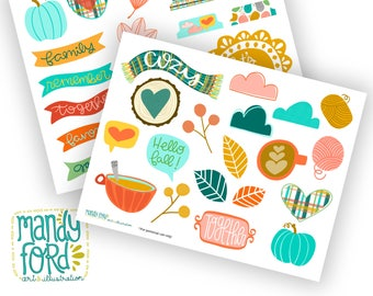Fall Printable Scrapbooking Kit || Fall Stickers Scrapbooking Paper Scrapbooking Kit Digital Stickers Digital Scrapbooking Autumn Printable