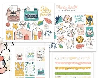 Chosen Place Autumn Printable Scrapbooking Kit | Fall Stickers | Printable Stickers | Planner Stickers | Paper Crafting | Scrapbooking Kit