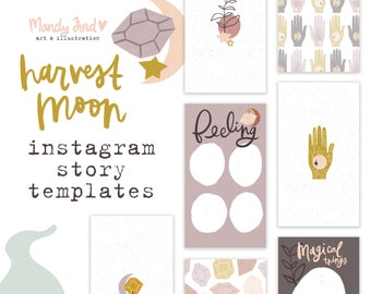 Hand drawn harvest moon Instagram story templates for lunar phase lovers