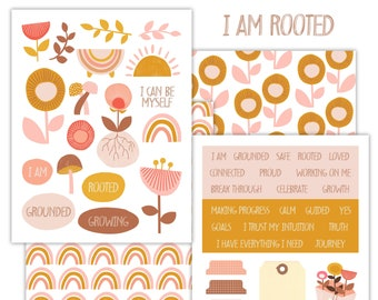 I Am Rooted Printable Scrapbooking Kit | Planner Stickers | Art Journaling | Paper Crafting | Scrapbooking