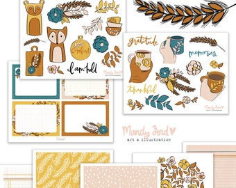 Comforts of Home Fall Printable Scrapbooking Kit | Autumn Stickers | Printable Stickers | Planner Stickers | Paper Crafting