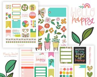 Hello Happy Printable Scrapbooking Kit | Planner Stickers | Art Journaling | Paper Crafting | Scrapbooking | Bible Journaling