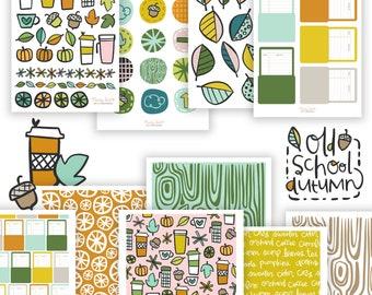 Old School Autumn Printable Scrapbooking Kit | Fall Stickers | Printable Stickers | Planner Stickers | Paper Crafting | Scrapbook Paper