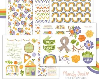 Calm Heart Fall Printable Scrapbooking Kit | Autumn Stickers | Printable Stickers | Planner Stickers | Paper Crafting