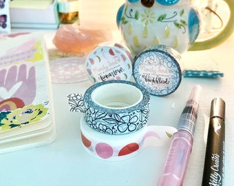 Mandy Ford Art & Illustration Washi Tape | Floral | Moon Phases | Lunar | scrapbooking | paper crafting | art journaling | mixed media