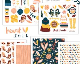 Heartfelt Autumn Printable Scrapbooking Kit | Fall Stickers | Printable Stickers | Planner Stickers | Paper Crafting | Scrapbooking Kit