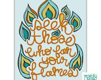 Rumi Quote Handlettering Illustration Inspirational Quote Handlettered Prints Rumi Art