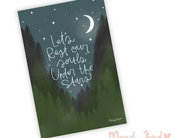 Let's Rest Our Souls Art Print | Celestial | Lettering | Encouraging Gifts | Mindfulness | Meditative Art