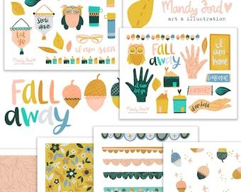 Fall Away Autumn Printable Scrapbooking Kit | Fall Stickers | Printable Stickers | Planner Stickers | Paper Crafting | Scrapbooking Kit