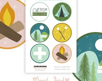 Camp Soul Care Sticker Sheet | Camp Badges | Vinyl Sticker Sheet | Hand Drawn Stickers | Camping | Nature Stickers
