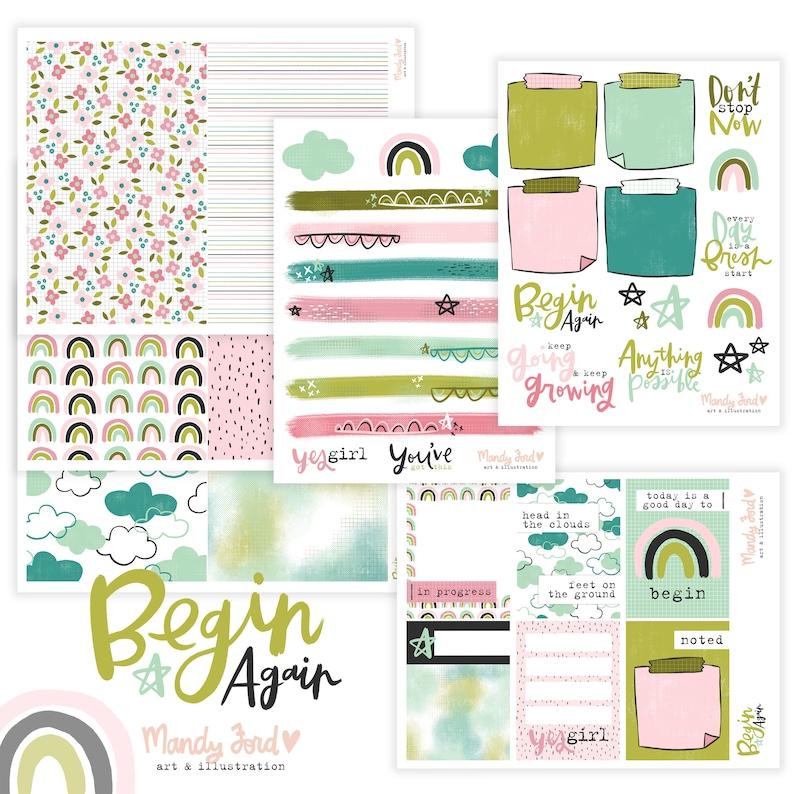 Begin Again Printable Scrapbooking Kit  Planner Stickers  image 0