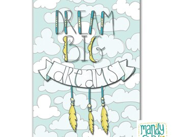 Dream Big Dreams Dreamcatcher Handlettered Illustration Art Print
