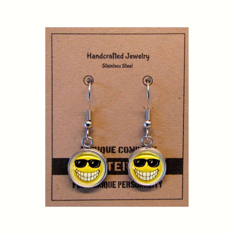 Smiley Face With Sunglasses  Dangle Earrings  Stainless image 0