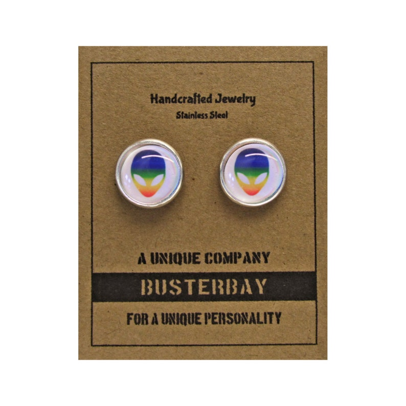 Alien Rainbow  Glass Cabochon  Stud Earrings  Stainless image 0