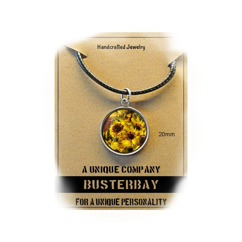 Field of Sunflowers  Pendant Necklace  Glass Cabochon  20mm
