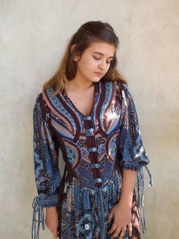 Donna Nuovi Blu Cotone Hippie Boho Vestito//Tunica Top M 10//12