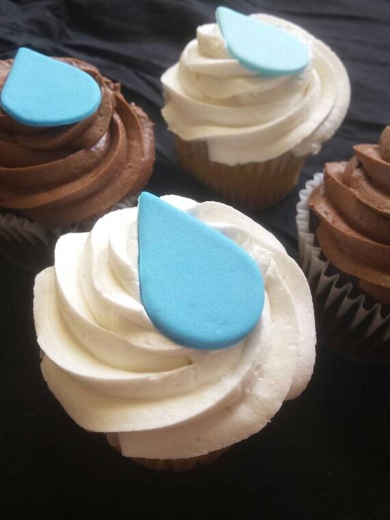 Raindrop Cupcake Toppers 6 Or 12 Handmade Fondant Cupcake Etsy