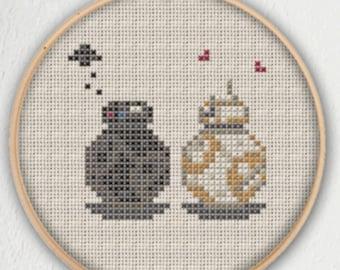 BB-9E and BB-8 Star Wars Cross Stitch Pattern - Instant Download PDF