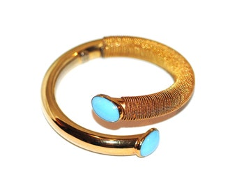 cd877df49a3 Superb Bijoux Cascio Modernist Runway Bangle Bracelet, Vintage 1960s 1970s  Made in Italy High Fashion Couture Statement Gold Turquoise