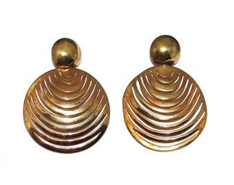 Lg. Steve Vaubel Modernist Gold Vermeil Disc Statement Drop Pendant Earrings, Vintage 1980s 1990s Tribal Influence 14K Post Jewelry