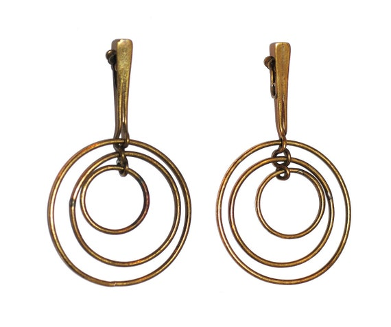 "1952 Art Smith ""Three Ring"" Earrings, Vintage 1950"