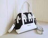 Canvas handbag, elephant purse, carry all, black and white, elephant, elephants, purse, crossbody, cross body, handbag, shoulder bag