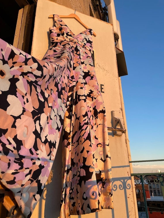 1970s palazzo silky floral lavender/black/minty l… - image 9
