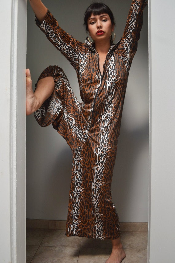Sexy Leopard 1970s Cozy Nylon Jumpsuit with Pocket