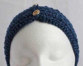 Crochet Ear Warmer - Crochet Headband - Crochet Royal Blue Headband Ear warmer with Gold Buttons - Ear Warmer - Winter Headband