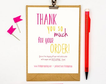 Thank you for your order card printable instant download etsy business thank you cards instant download happily handwritten flashek Image collections