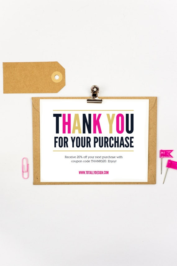 graphic regarding Free Printable Thank You for Your Purchase known as Thank by yourself for your buy Printable Immediate Down load - Recently Ground breaking