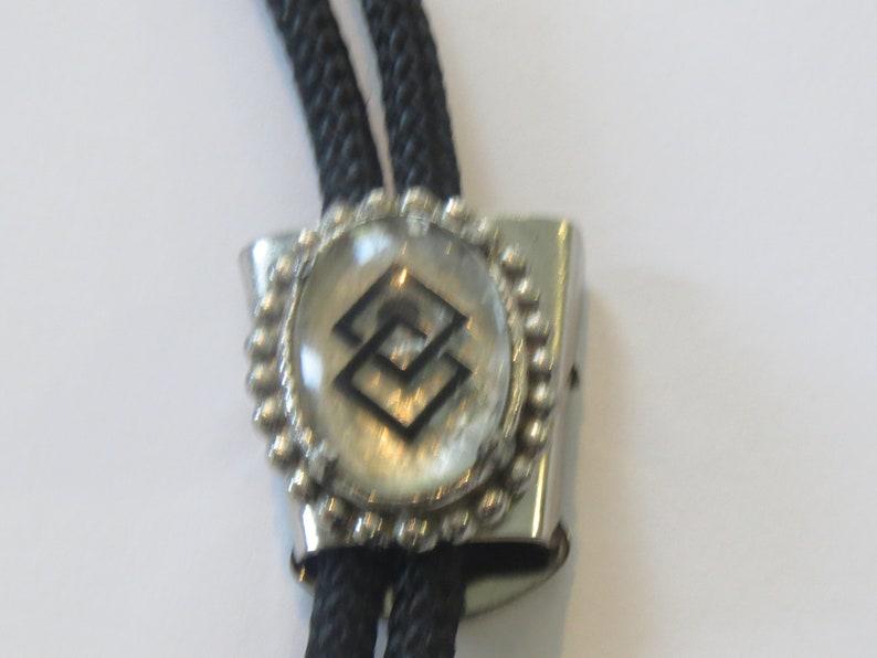 Costume Silver Tone Beaded Double Square  Bolo Tie IC Lot 17 Beaded Bolo Tie