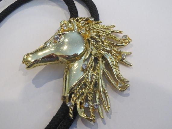 Horse Bolo Tie Costume Handcrafted  Gold Tone Horse on Silver Tone Shield  Bolo Tie IC Lot 3