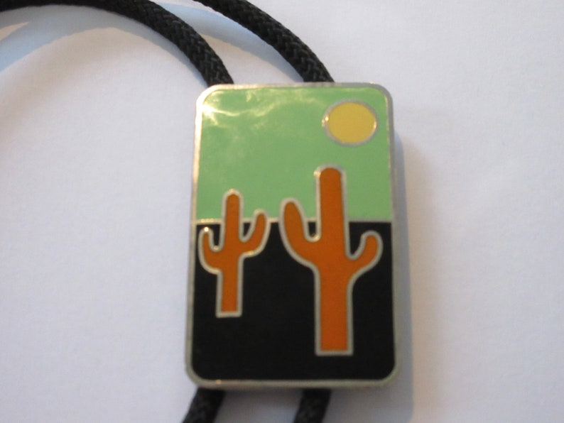 Cactus Bolo Tie Handcrafted Multi Tone Cactus Desert Scene in Setting Bolo Tie IC Lot A