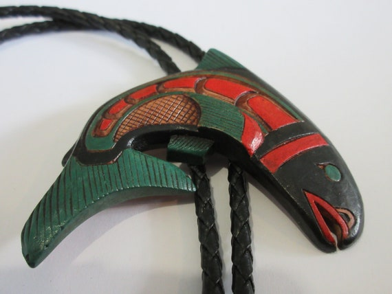 Fish Bolo Tie, Handcrafted Wooden Salmon Trout Art