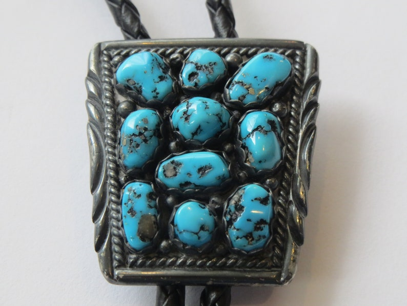 12e09f7d4a66 Vintage Sterling Silver Turquoise Blue Stone on Shield Cowboy