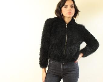 31061c18337 vintage 80s 90s Black FUZZY Furry Slouchy BOMBER Jacket S M
