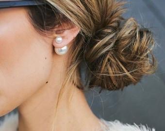 20% off flash sale PEARL Double Ball Stud Earrings Minimalist Double Sided Front Back Earrings