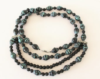 Paper and lava beads necklace