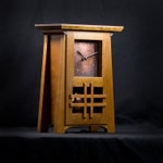 Craftsman / Mission / Arts & Crafts Style Mantel Clock / American Cherry with Copper Face and Pendulum