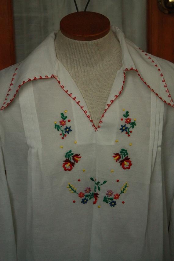Vtg Sheer hungarian shirt blouse hodmezovasarhely… - image 2
