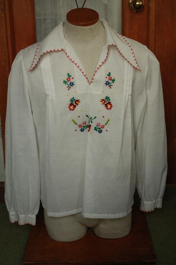 Vtg Sheer hungarian shirt blouse hodmezovasarhely… - image 1